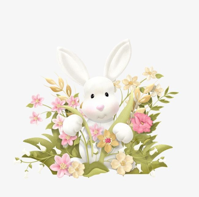 Rabbit PNG, Clipart, Animal, Flowers, Hand, Hand Painted, Lovely Free PNG Download