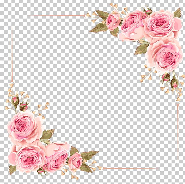 Wedding Invitation Flower Rose Pink PNG, Clipart, Artificial Flower, Blossom, Border, Border Frame, Certificate Border Free PNG Download