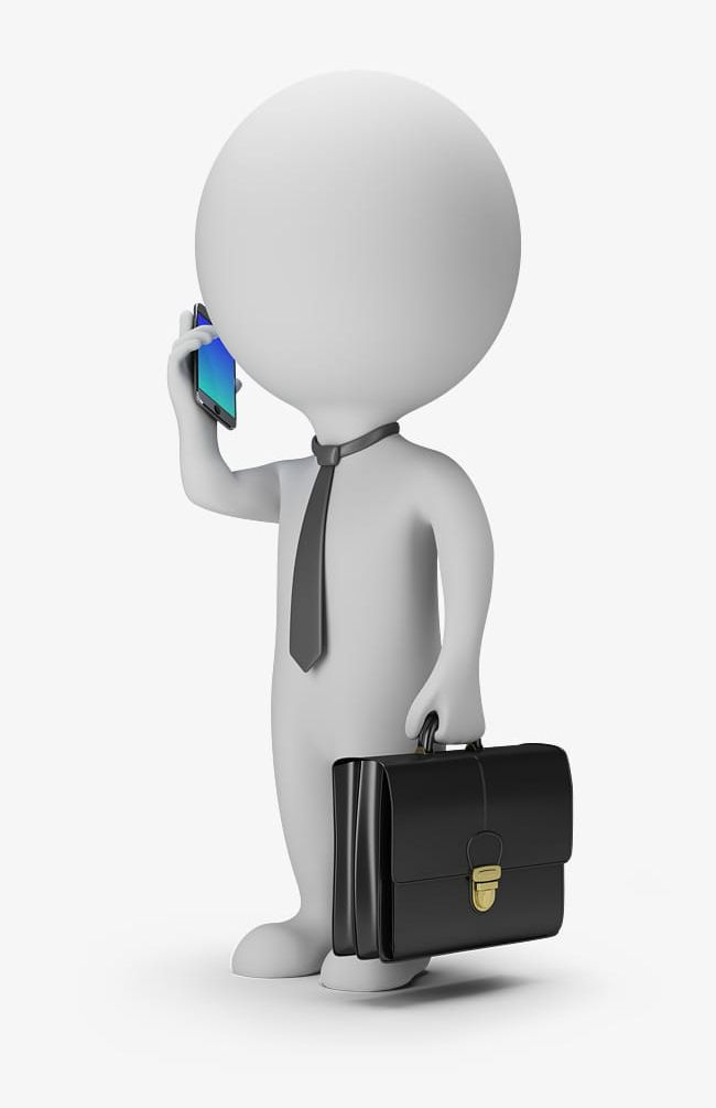 3d Man Answered The Phone Png Clipart 3d Clipart 3d People Answered Clipart Briefcase Business Free