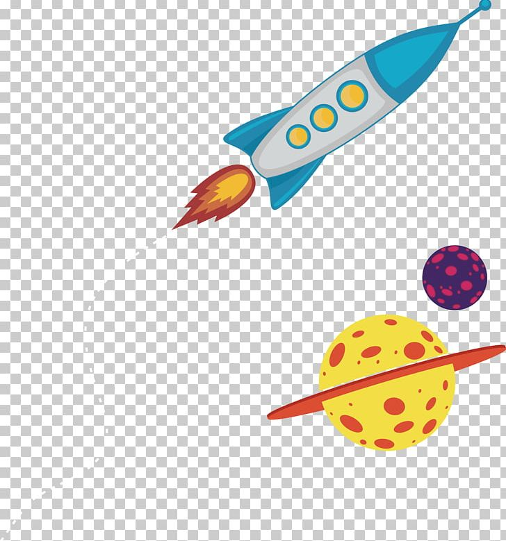 Planet rocket. Earth cartoon outer space
