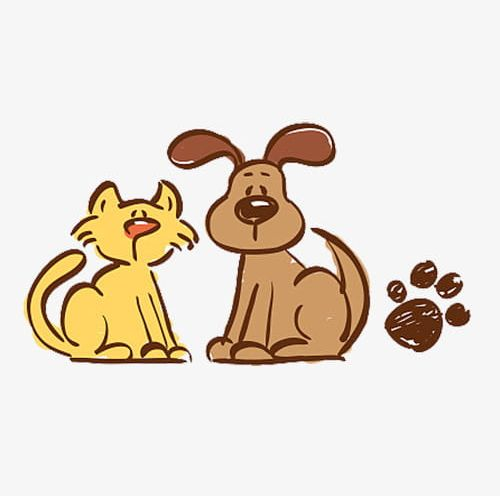Hand Painted Cats And Dogs Png Clipart Animal Animal Footprint Cartoon Cartoon Cat Cartoon Dog Free