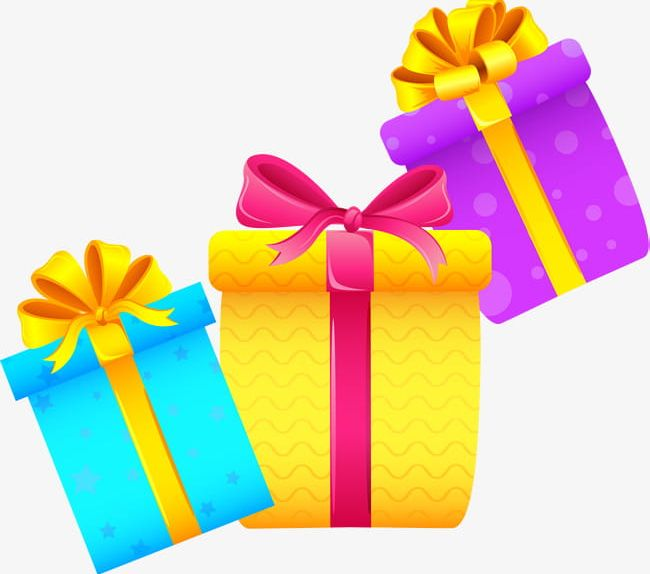 Three Cartoon Gift Boxes Png Clipart Birthday Birthday Present