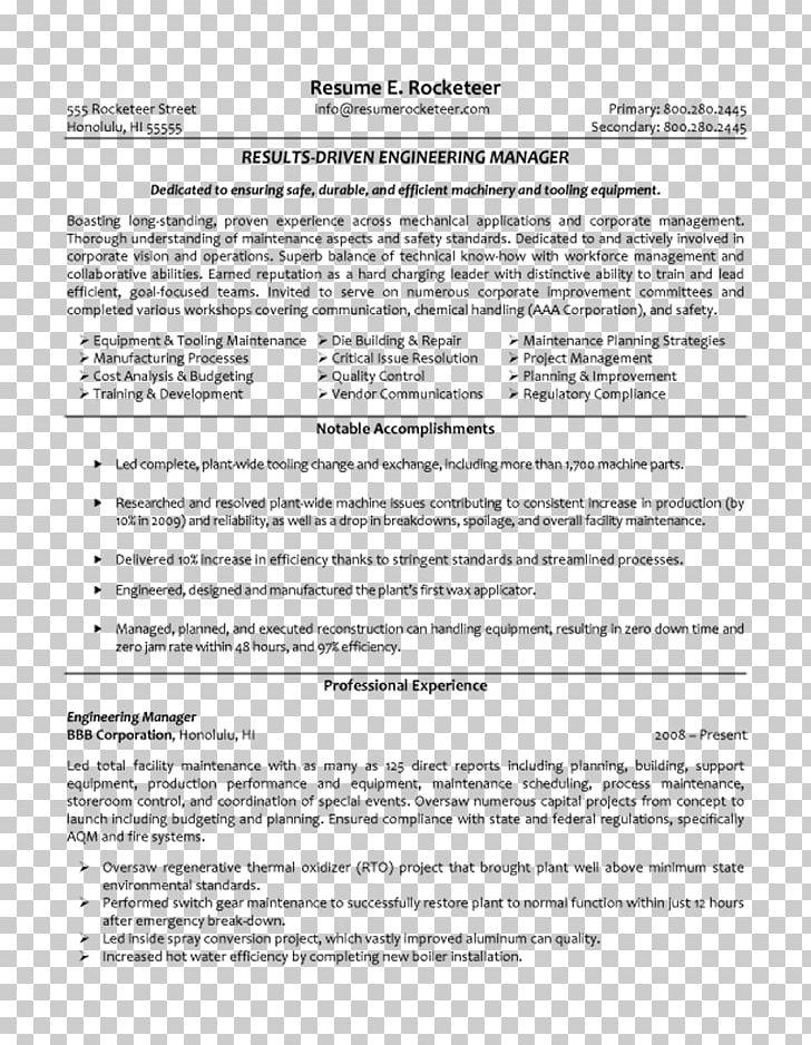 Résumé Engineering Management Manufacturing Engineering ...
