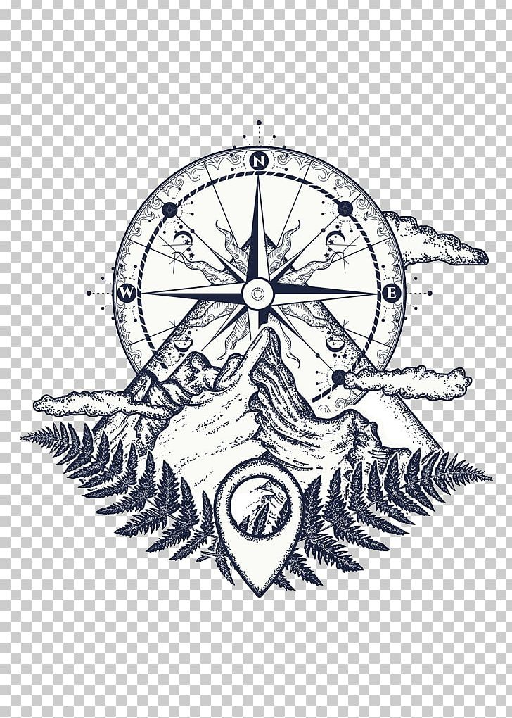 Tattoo Artist Compass Mountain PNG, Clipart, Arrow Sketch, Art, Artwork, Black And White, Border Sketch Free PNG Download