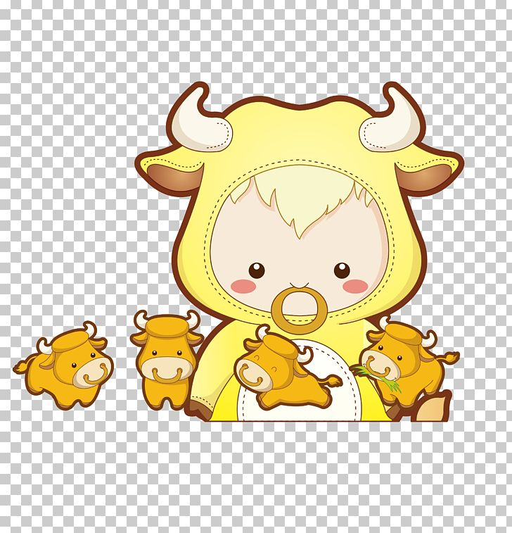 Cattle Chinese Zodiac Ox PNG, Clipart, Animals, Art, Babies