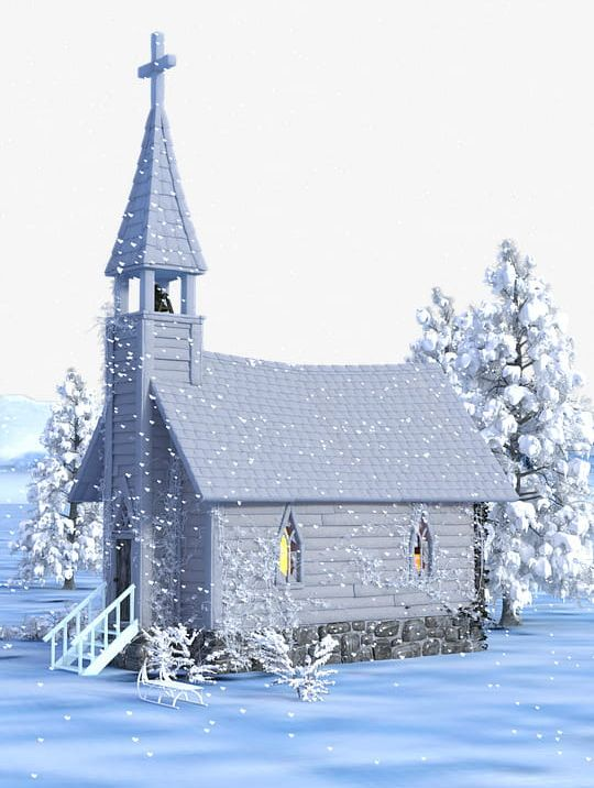 Christmas Church House Snow PNG