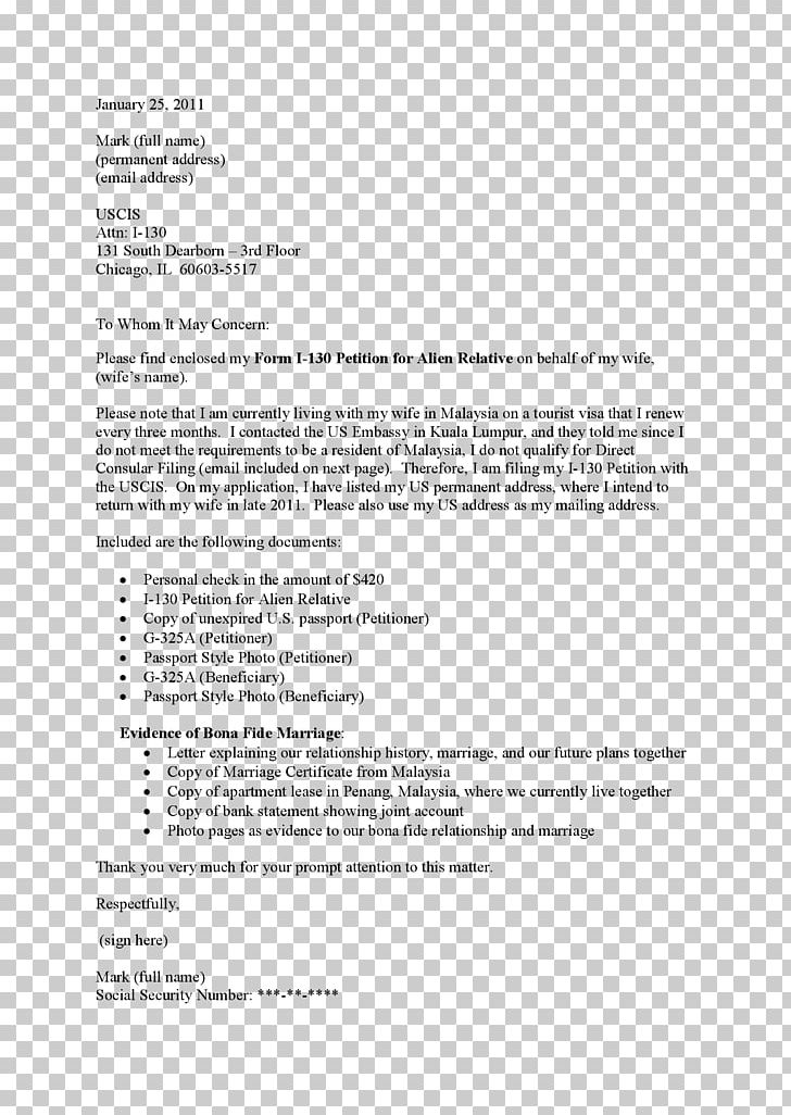 Cover Letter Form I 130 Resume Template PNG Clipart Application
