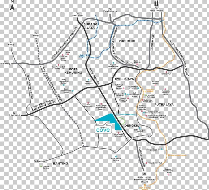 Cyberjaya Putrajaya Kuala Lumpur International Airport South Klang Valley Expressway North–South Expressway Central Link PNG, Clipart, Acre, Angle, Area, Cyberjaya, Diagram Free PNG Download