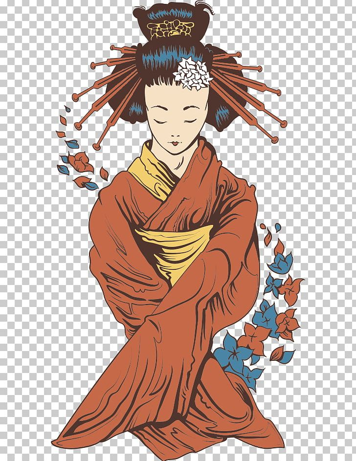 Japanese Geisha Illustration PNG, Clipart, Cartoon Characters, Character, Fictional Character, Geisha Vector, Girl Free PNG Download