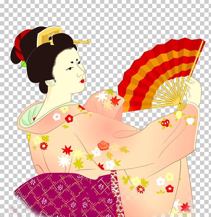 Japan Geisha Kimono Woman PNG, Clipart, Art, Cartoon, Encapsulated Postscript, Euclidean Vector, Geisha Free PNG Download