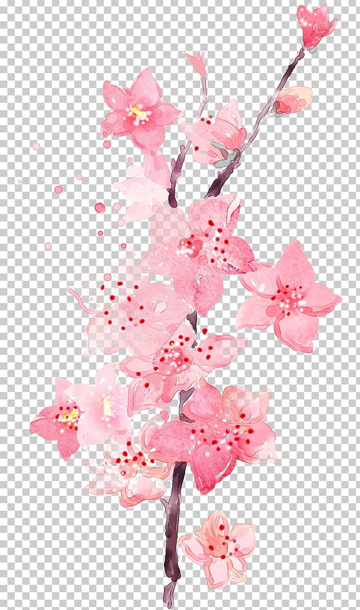 Watercolor Painting Art Peach PNG, Clipart, Art, Blossom, Branch, Cherry Blossom, Color Scheme Free PNG Download