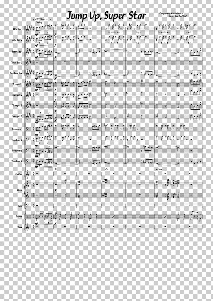 Sheet Music Super Mario Odyssey Alto Saxophone PNG, Clipart