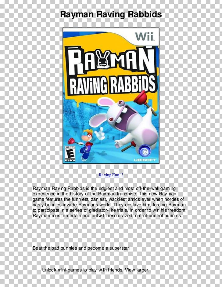 Rayman Raving Rabbids 2 Wii Xbox 360 PNG, Clipart, Area, Brand, E
