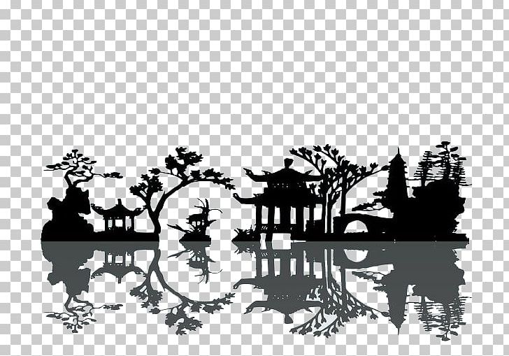 China Silhouette Landscape Painting PNG, Clipart, Animals, Black, Chinese Architecture, Chinese Lantern, Chinese Painting Free PNG Download