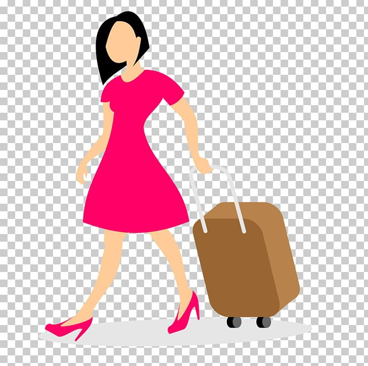 Woman With Luggage Baggage PNG, Clipart, Backpack, Business Woman, Cartoon, Girl, Hand Free PNG Download