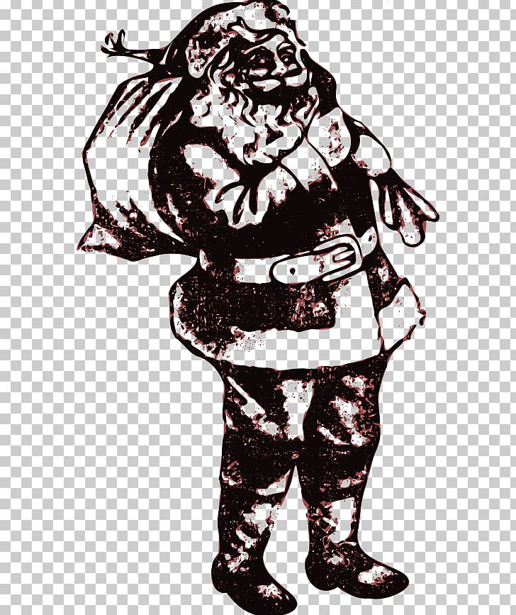 Santa Claus Line Art PNG, Clipart, Bag, Black And White, Christmas, Christmas Card, Costume Free PNG Download