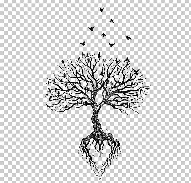 Tree Root Tattoo Bird Heart PNG, Clipart, Animals, Black ...
