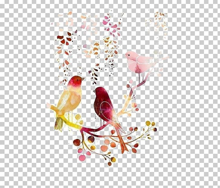Bird Watercolor Painting Drawing Illustration PNG, Clipart, Animals, Bird Cage, Bird Illustration, Bird Nest, Branch Free PNG Download