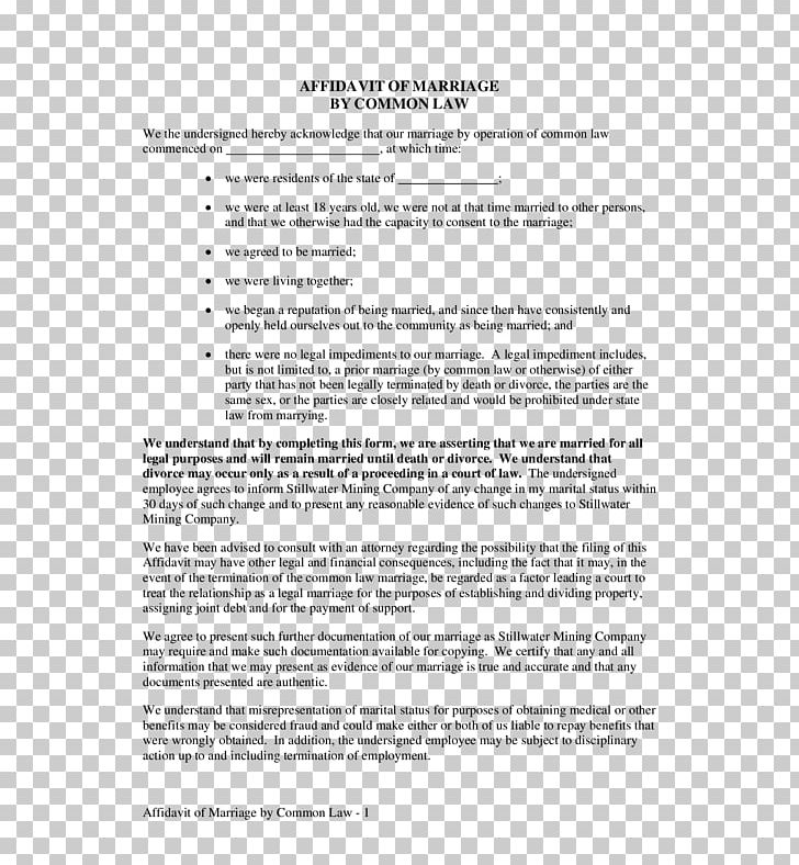 Affidavit Sworn Declaration Contract Document Marital Status