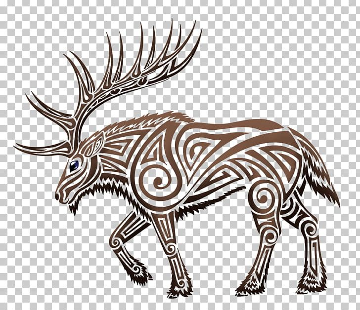 Elk Deer Moose Tattoo Png Clipart Animals Antler Art
