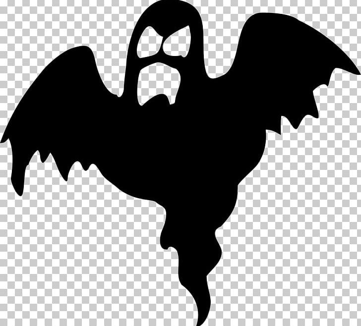 Halloween Silhouette Ghost Png Clipart Beak Bird Black And White Boogeyman Cartoon Free Png Download