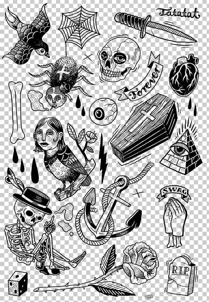 Tattoo Artist Flash Black And Gray Drawing Png Clipart Abziehtattoo Art Automotive Design Black And White