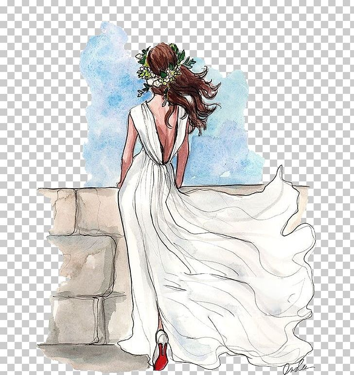 Drawing Wedding Dress Bride Sketch PNG, Clipart, Art, Back, Beauty, Bride And Groom, Brides Free PNG Download