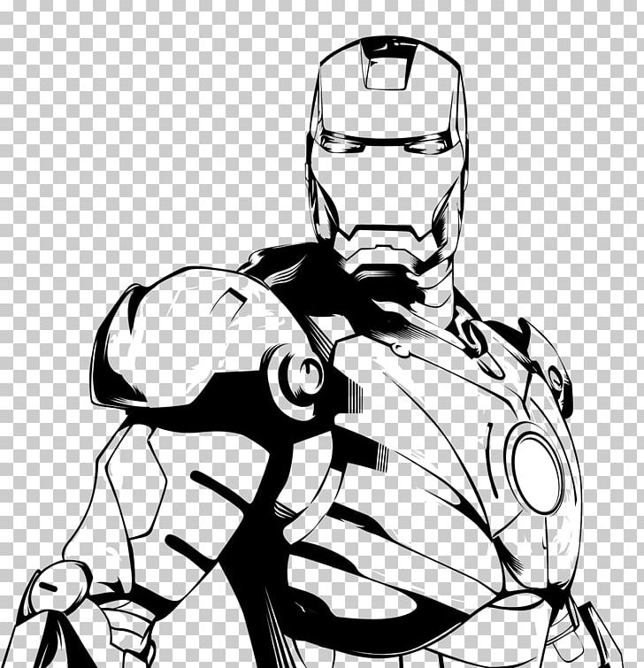 Iron Man Black And White Drawing Line Art Png Clipart Arm Art