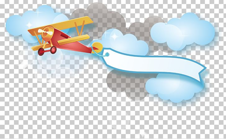 Cartoon Png Clipart Airplane Angle Baiyun Banner Blue Free
