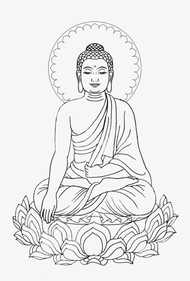 Simple Hand-painted Shakya Muni Buddha Lotus Meditation ...