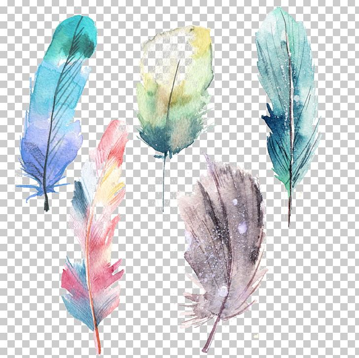 Feather Watercolor Painting Blue PNG, Clipart, Animals, Beautiful, Blue, Color, Feather Free PNG Download