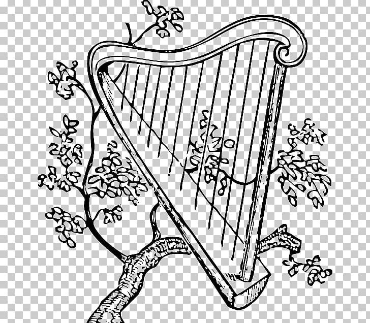 Celtic Harp Musical Instruments PNG, Clipart, Art, Black, Black And White, Calligraphy, Celtic Harp Free PNG Download