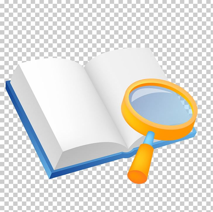 Magnifying glass book. Computer file png clipart