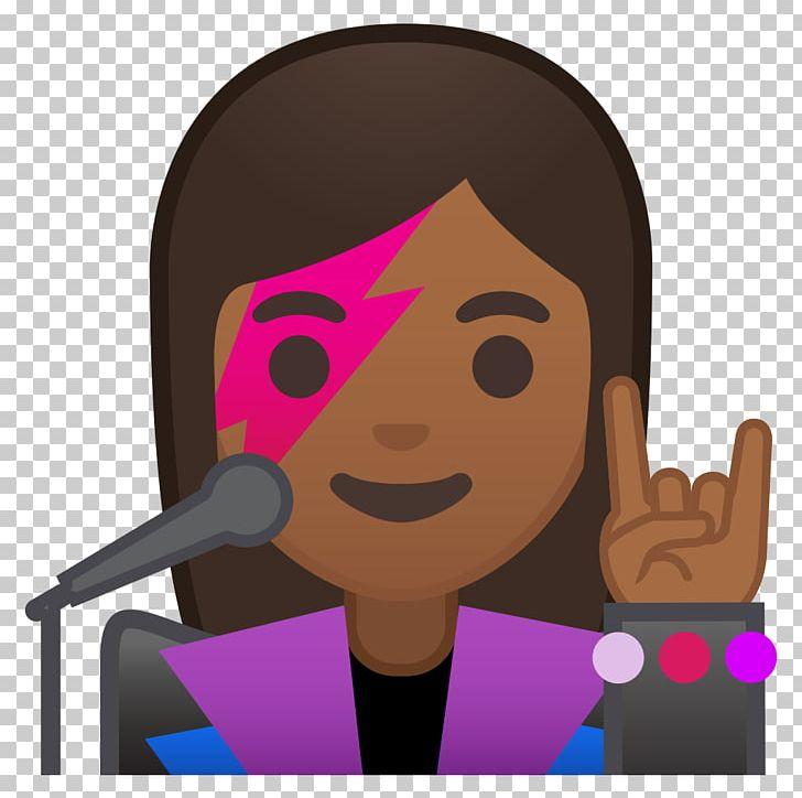 Emoji Singer Dark Skin Woman Human Skin Color PNG, Clipart